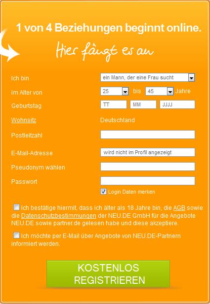 Die Anmeldung auf Neu.de